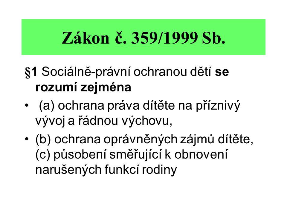 Zákon č. 359/1999 Sb. §1 Sociálně-právní ochranou dětí se rozumí zejména. (a) ochrana práva dítěte na příznivý vývoj a řádnou výchovu,