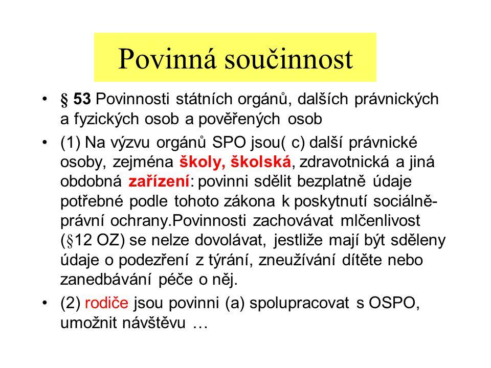 Povinná součinnost § 53 Povinnosti státních orgánů, dalších právnických a fyzických osob a pověřených osob.