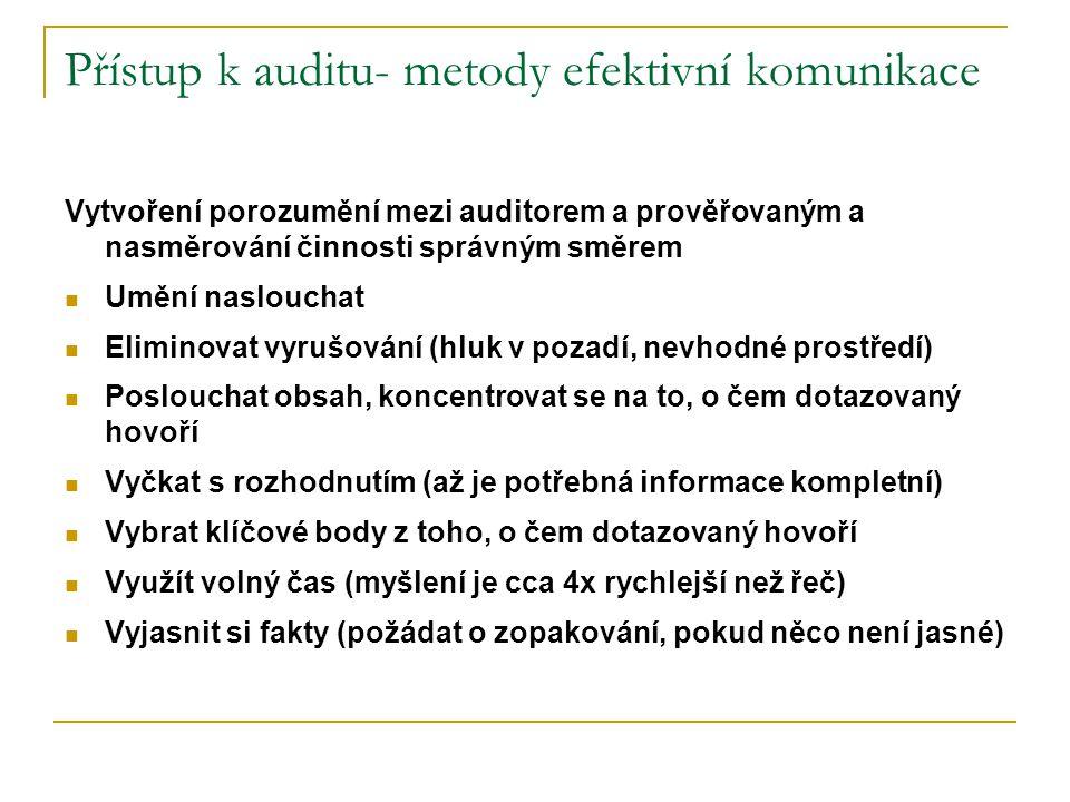 Přístup k auditu- metody efektivní komunikace
