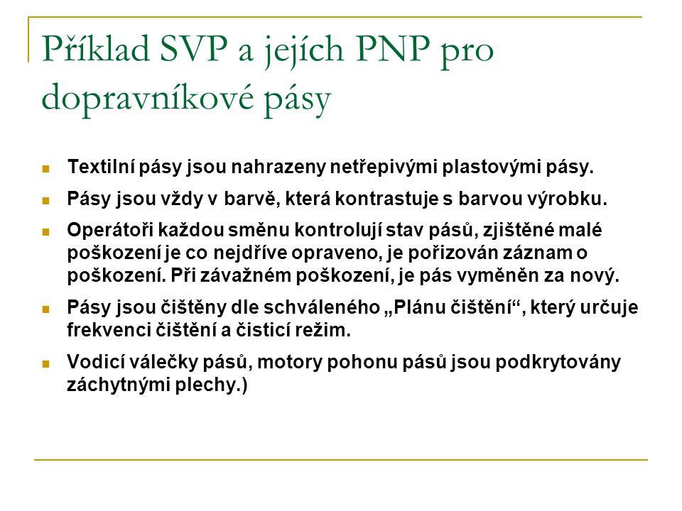 Příklad SVP a jejích PNP pro dopravníkové pásy
