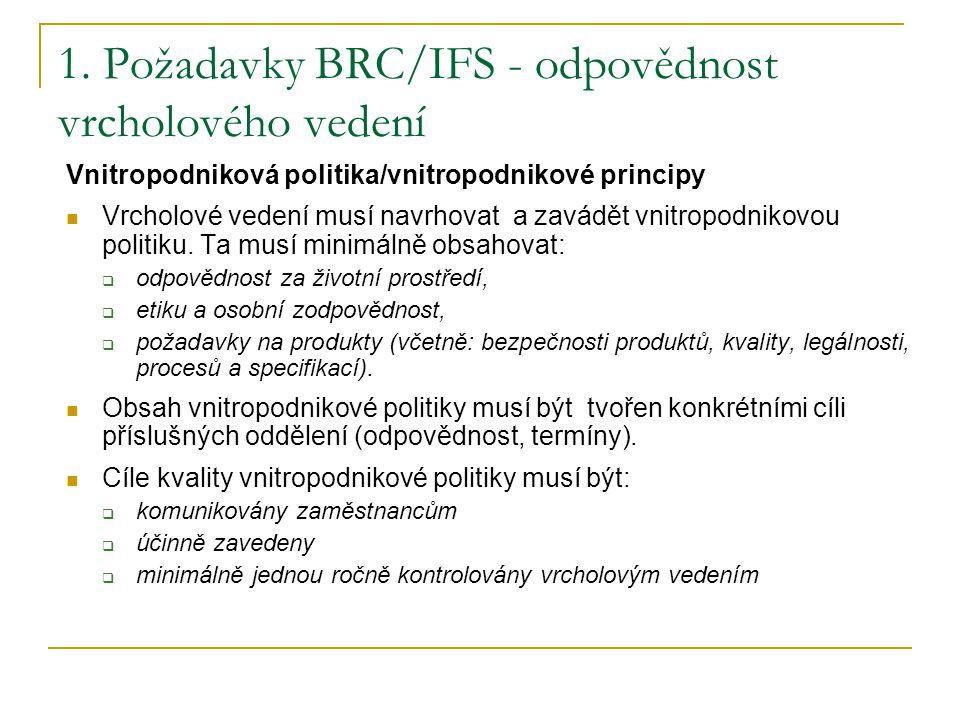 1. Požadavky BRC/IFS - odpovědnost vrcholového vedení
