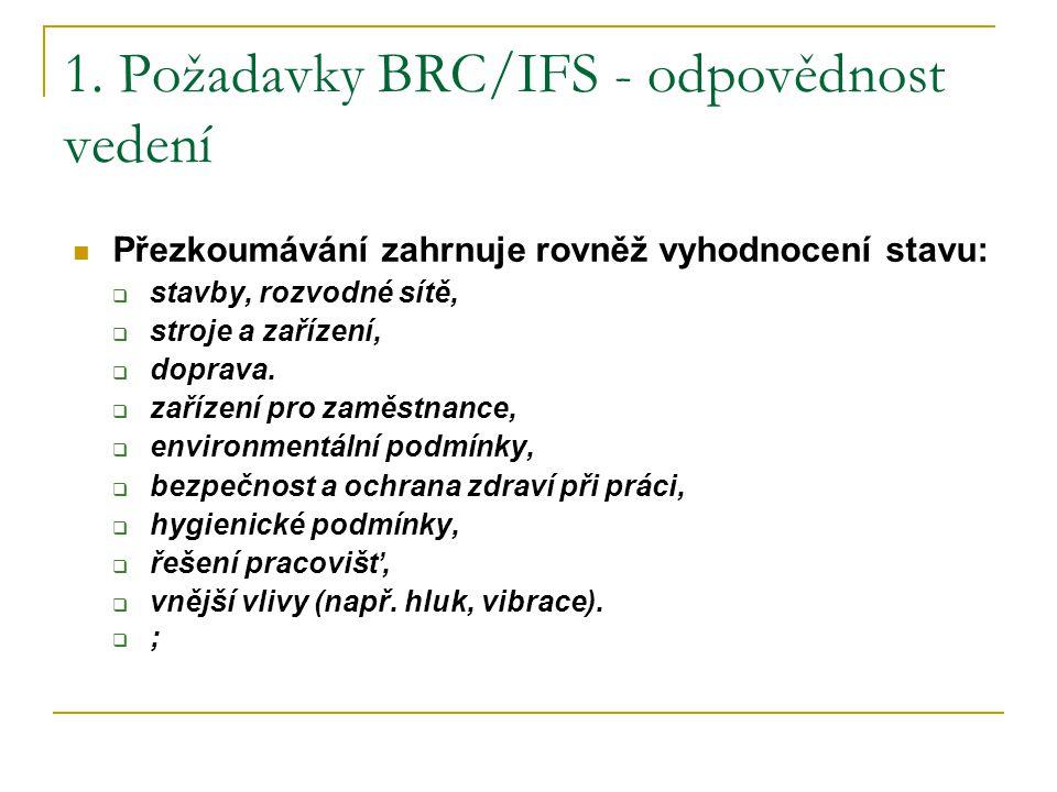 1. Požadavky BRC/IFS - odpovědnost vedení