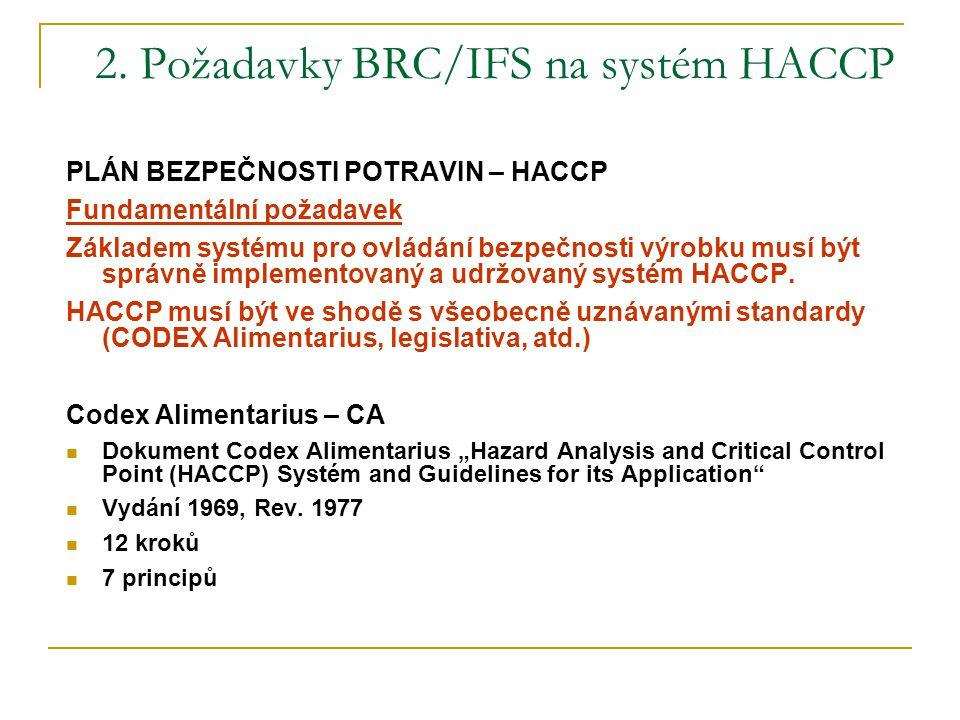 2. Požadavky BRC/IFS na systém HACCP