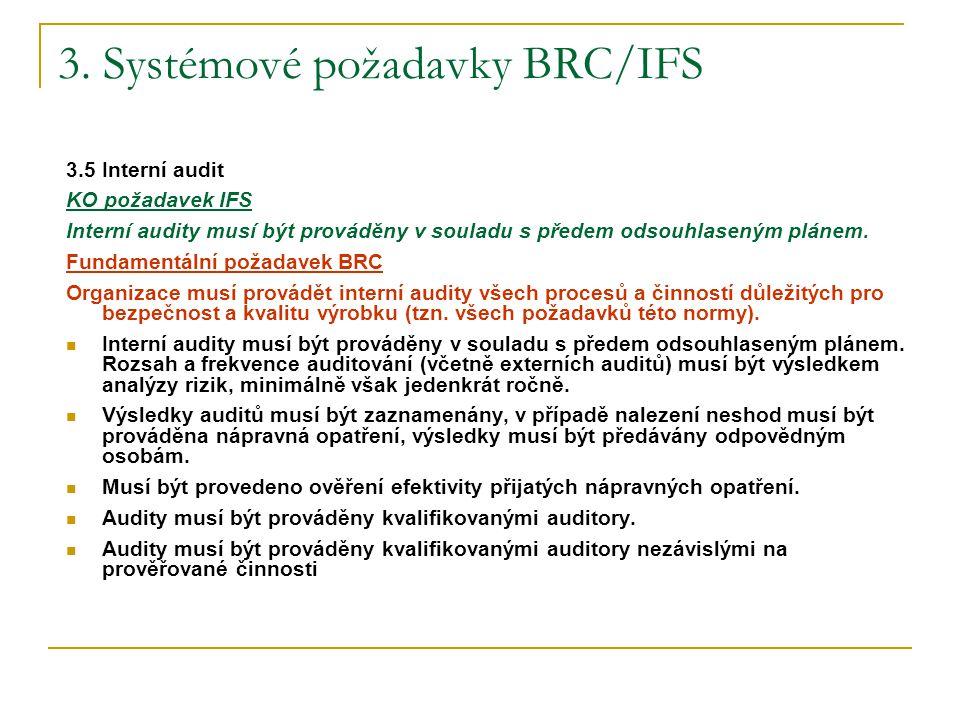 3. Systémové požadavky BRC/IFS