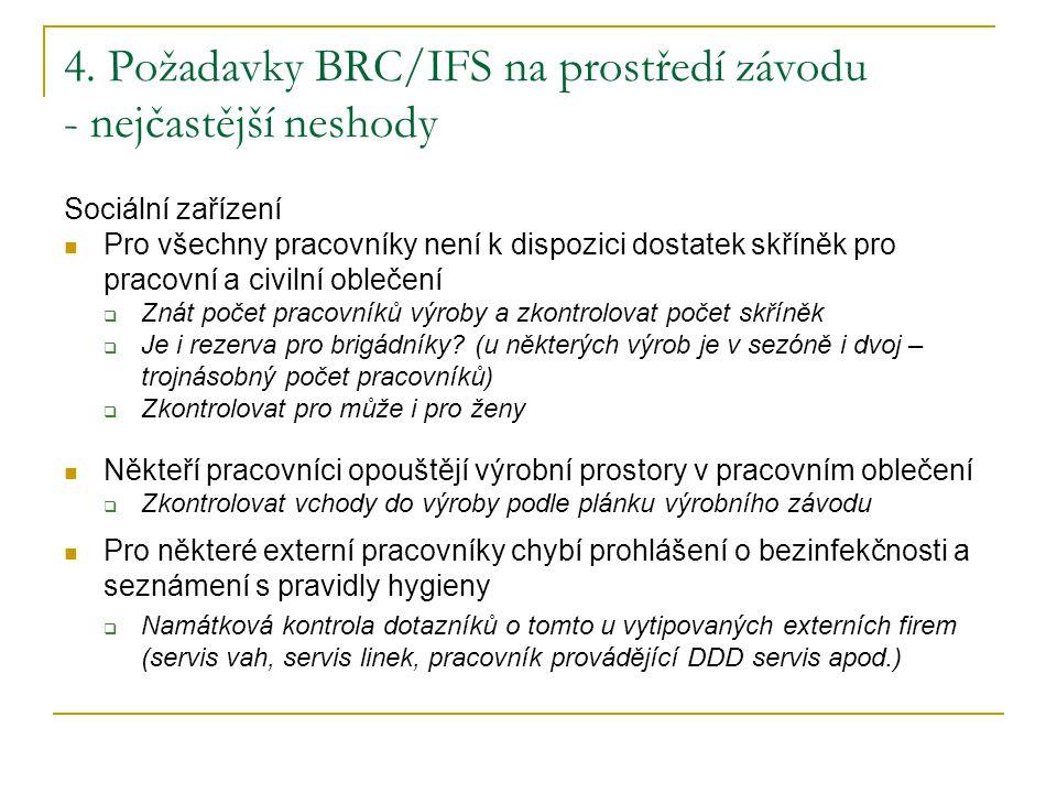 4. Požadavky BRC/IFS na prostředí závodu - nejčastější neshody