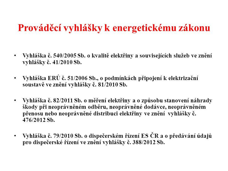 Prováděcí vyhlášky k energetickému zákonu