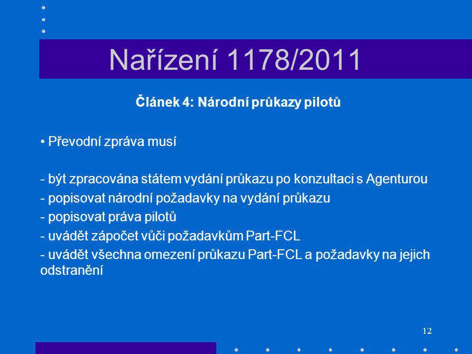 Článek 4: Národní průkazy pilotů