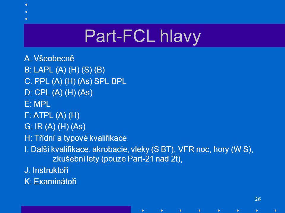Part-FCL hlavy A: Všeobecně B: LAPL (A) (H) (S) (B)