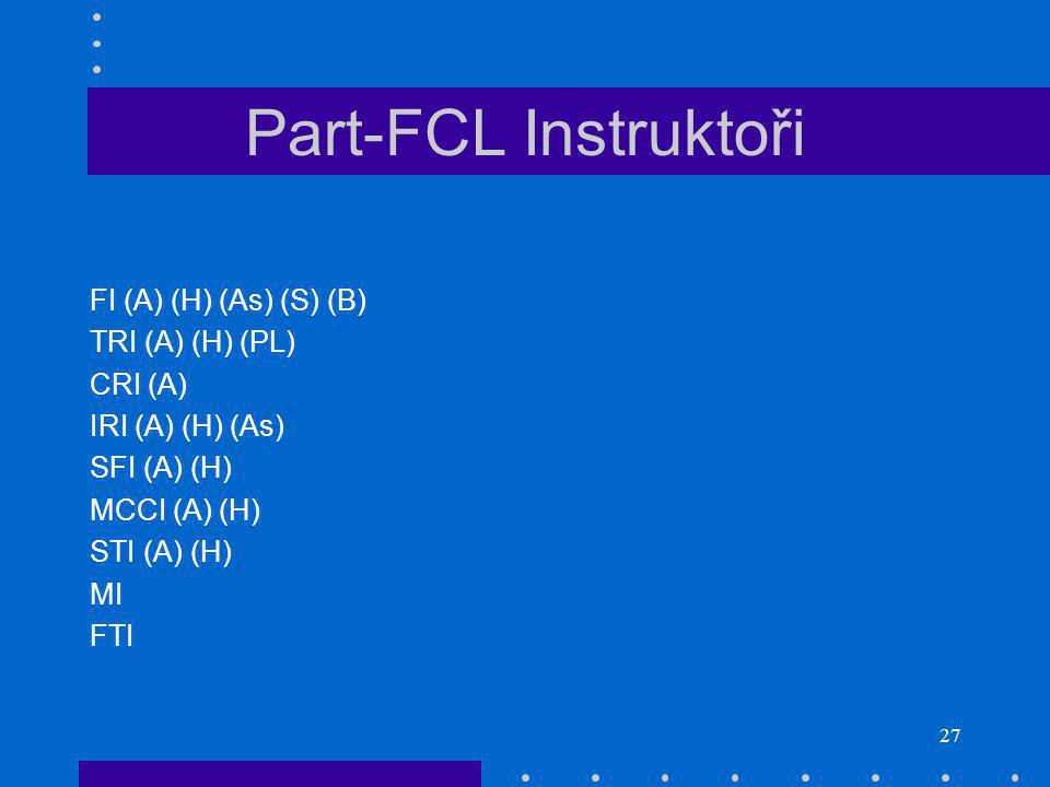 Part-FCL Instruktoři FI (A) (H) (As) (S) (B) TRI (A) (H) (PL) CRI (A)