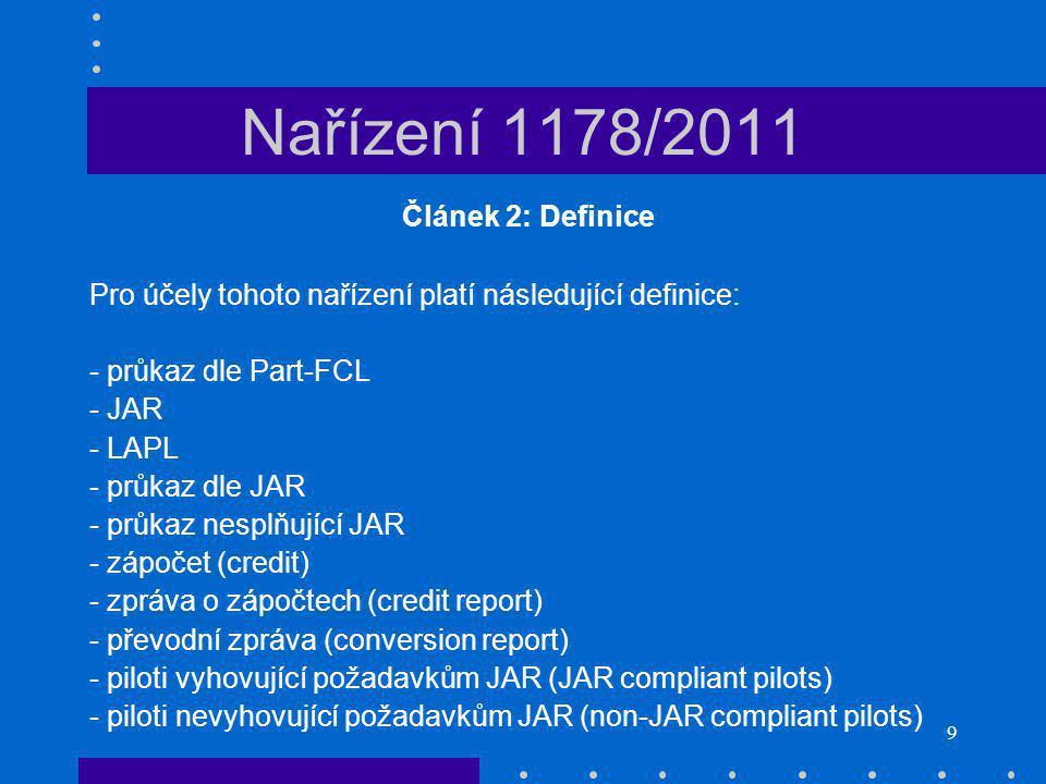 Nařízení 1178/2011 Článek 2: Definice