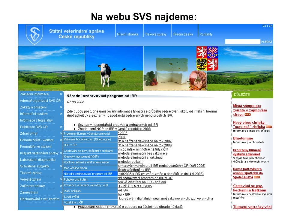 Na webu SVS najdeme: