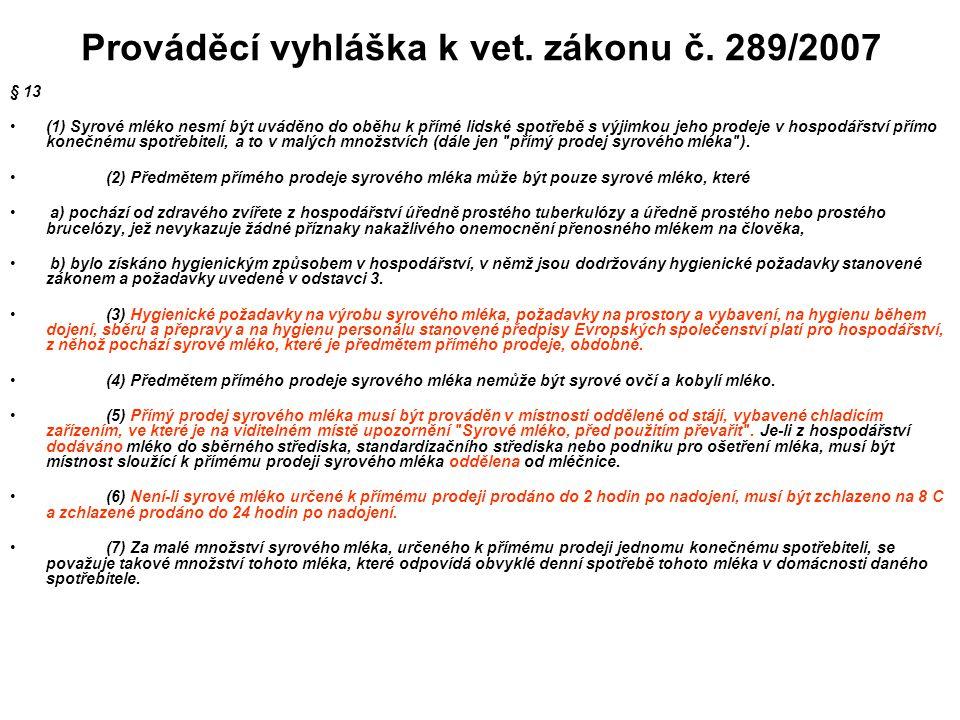 Prováděcí vyhláška k vet. zákonu č. 289/2007
