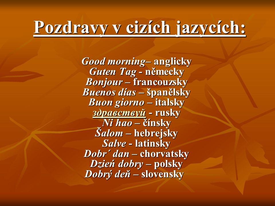 Pozdravy v cizích jazycích:
