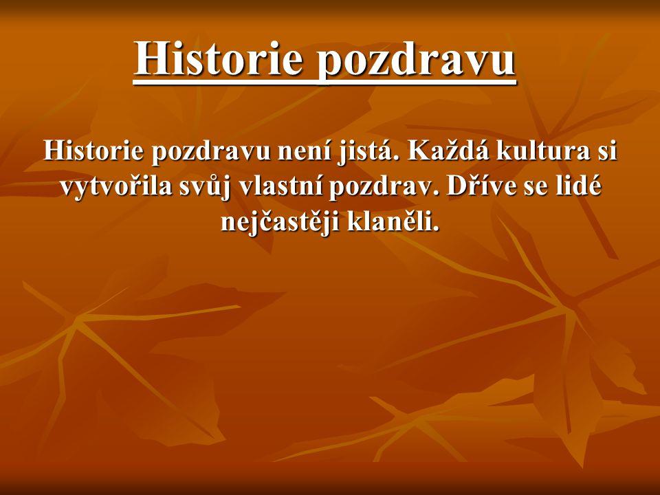 Historie pozdravu Historie pozdravu není jistá. Každá kultura si vytvořila svůj vlastní pozdrav.