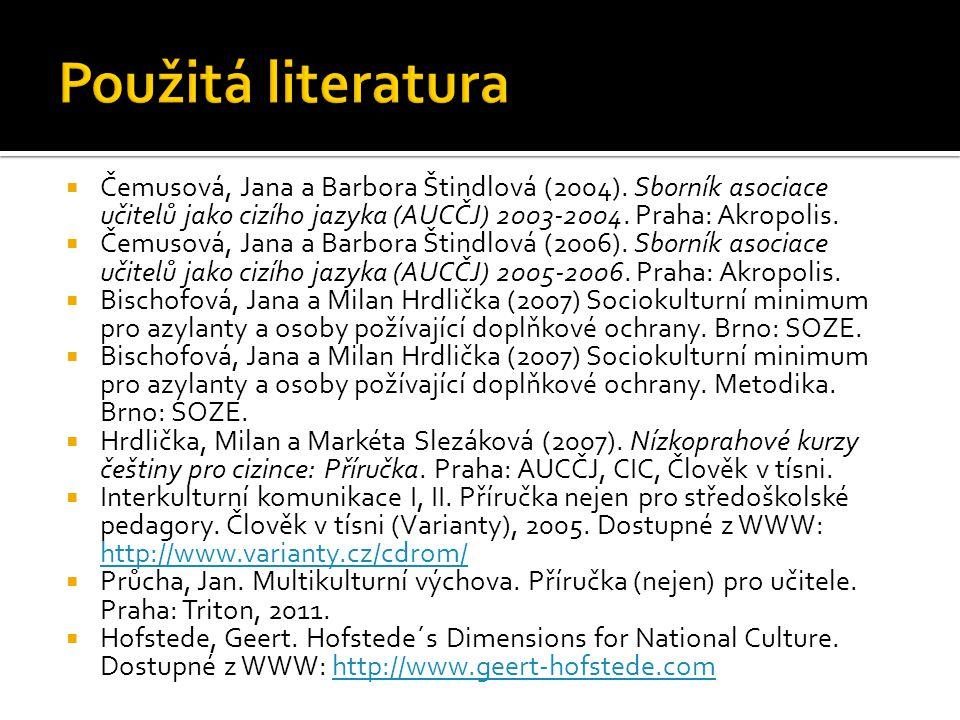 Použitá literatura Čemusová, Jana a Barbora Štindlová (2004). Sborník asociace učitelů jako cizího jazyka (AUCČJ) 2003-2004. Praha: Akropolis.