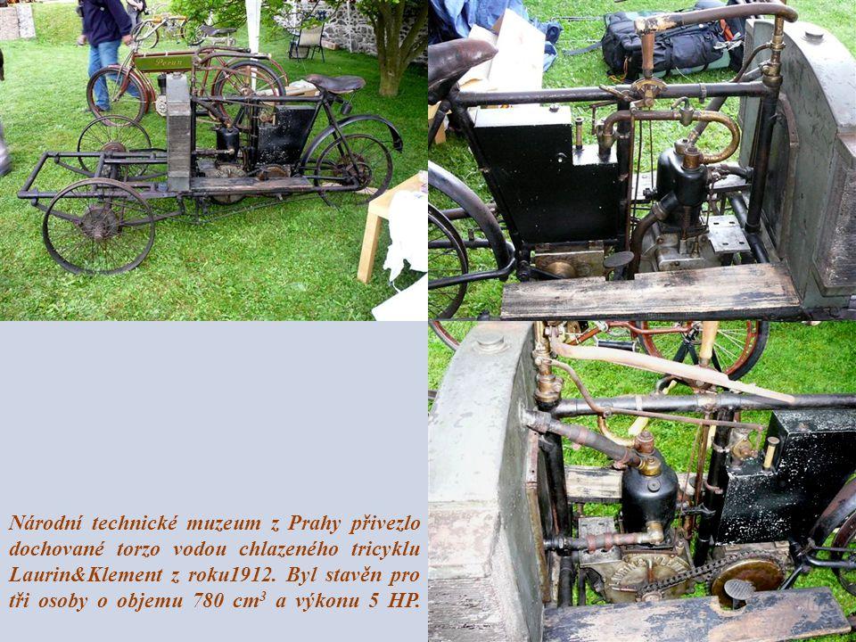 Národní technické muzeum z Prahy přivezlo dochované torzo vodou chlazeného tricyklu Laurin&Klement z roku1912.
