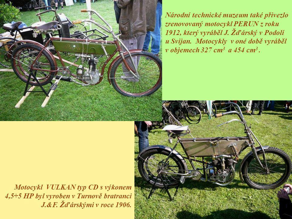Národní technické muzeum také přivezlo zrenovovaný motocykl PERUN z roku 1912, který vyráběl J. Žďárský v Podolí u Svijan. Motocykly v oné době vyráběl v objemech 327 cm3 a 454 cm3 .