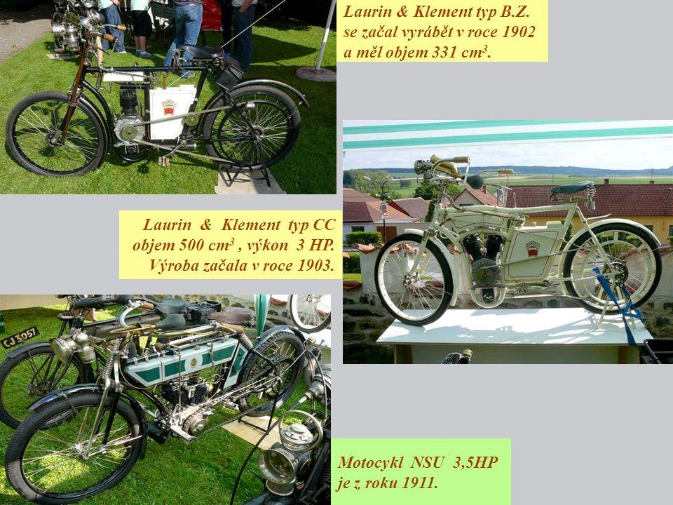 Laurin & Klement typ B.Z. se začal vyrábět v roce 1902 a měl objem 331 cm3.