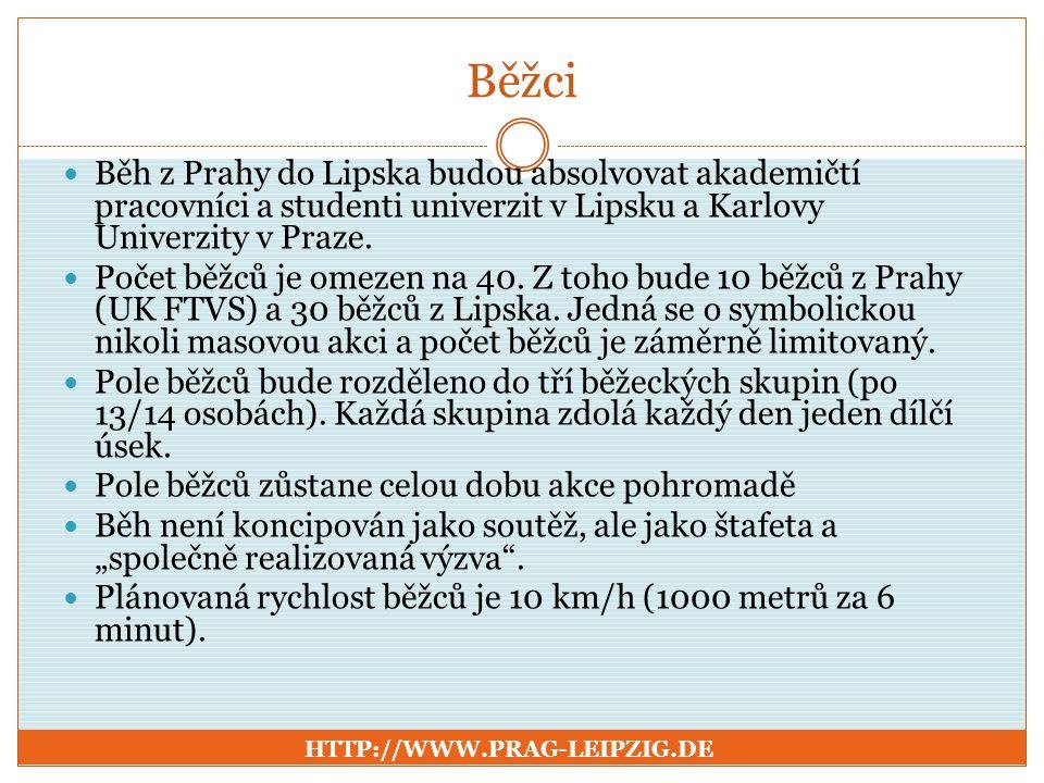 Běžci Běh z Prahy do Lipska budou absolvovat akademičtí pracovníci a studenti univerzit v Lipsku a Karlovy Univerzity v Praze.
