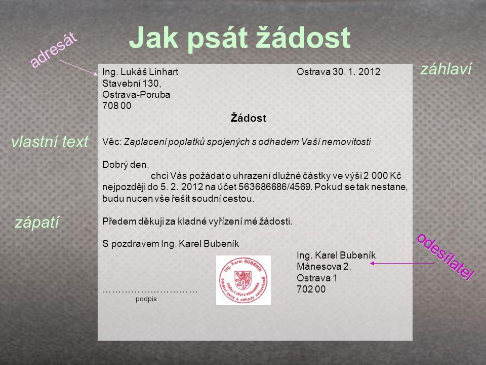 Jak psát žádost adresát záhlaví vlastní text zápatí odesílatel