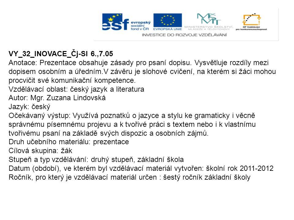 VY_32_INOVACE_Čj-Sl 6.,7.05