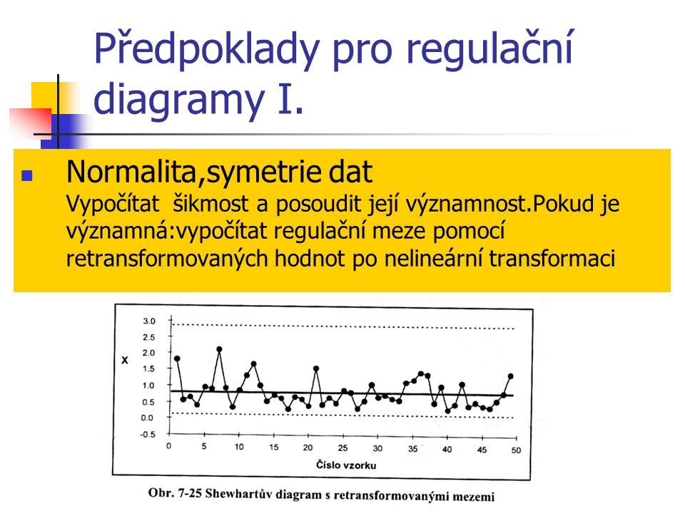 Předpoklady pro regulační diagramy I.