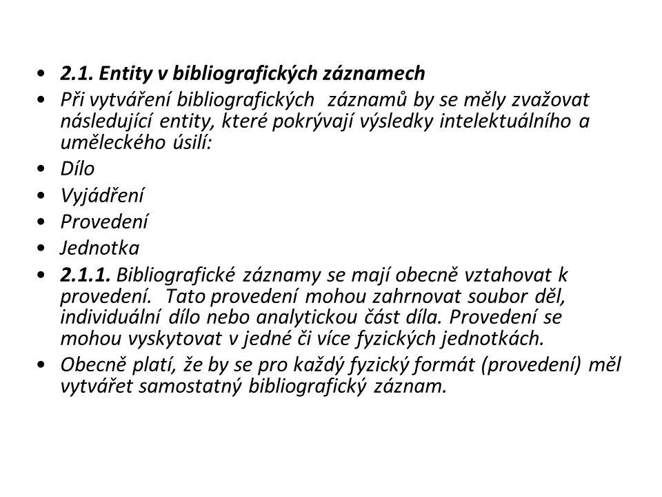 2.1. Entity v bibliografických záznamech