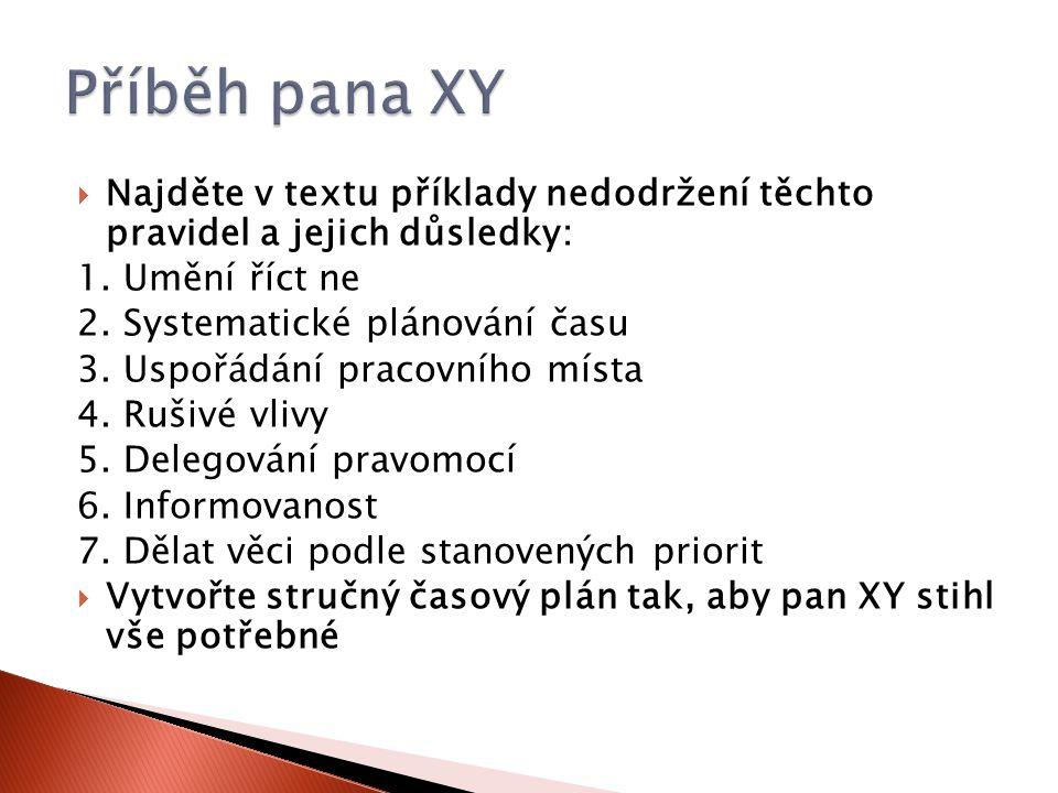 Příběh pana XY Najděte v textu příklady nedodržení těchto pravidel a jejich důsledky: 1. Umění říct ne.