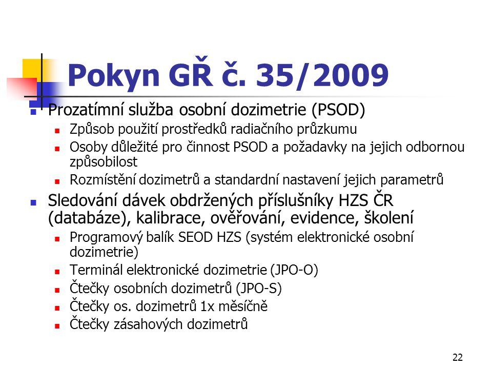 Pokyn GŘ č. 35/2009 Prozatímní služba osobní dozimetrie (PSOD)