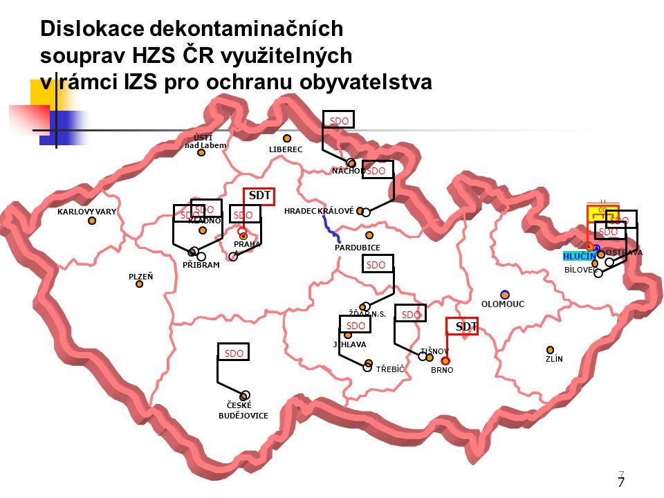 Dislokace dekontaminačních souprav HZS ČR využitelných