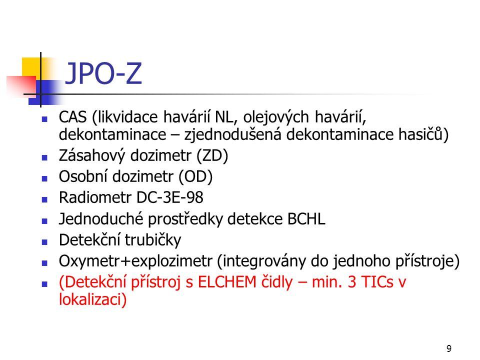JPO-Z CAS (likvidace havárií NL, olejových havárií, dekontaminace – zjednodušená dekontaminace hasičů)