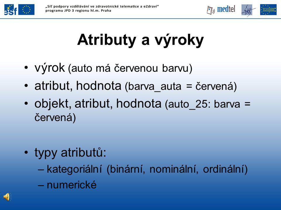 Atributy a výroky výrok (auto má červenou barvu)