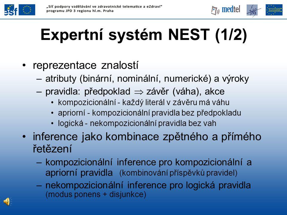 Expertní systém NEST (1/2)