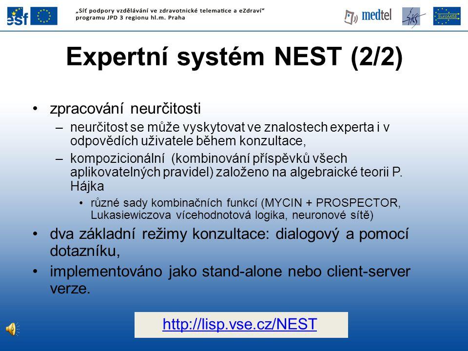 Expertní systém NEST (2/2)