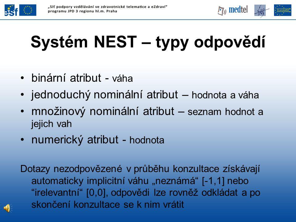 Systém NEST – typy odpovědí