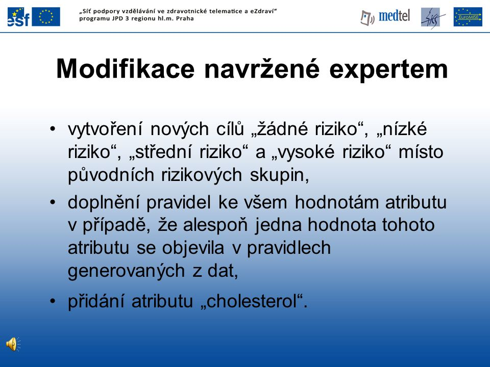 Modifikace navržené expertem