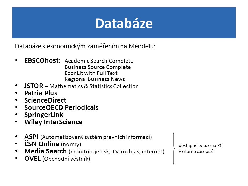 Databáze EBSCOhost: Academic Search Complete