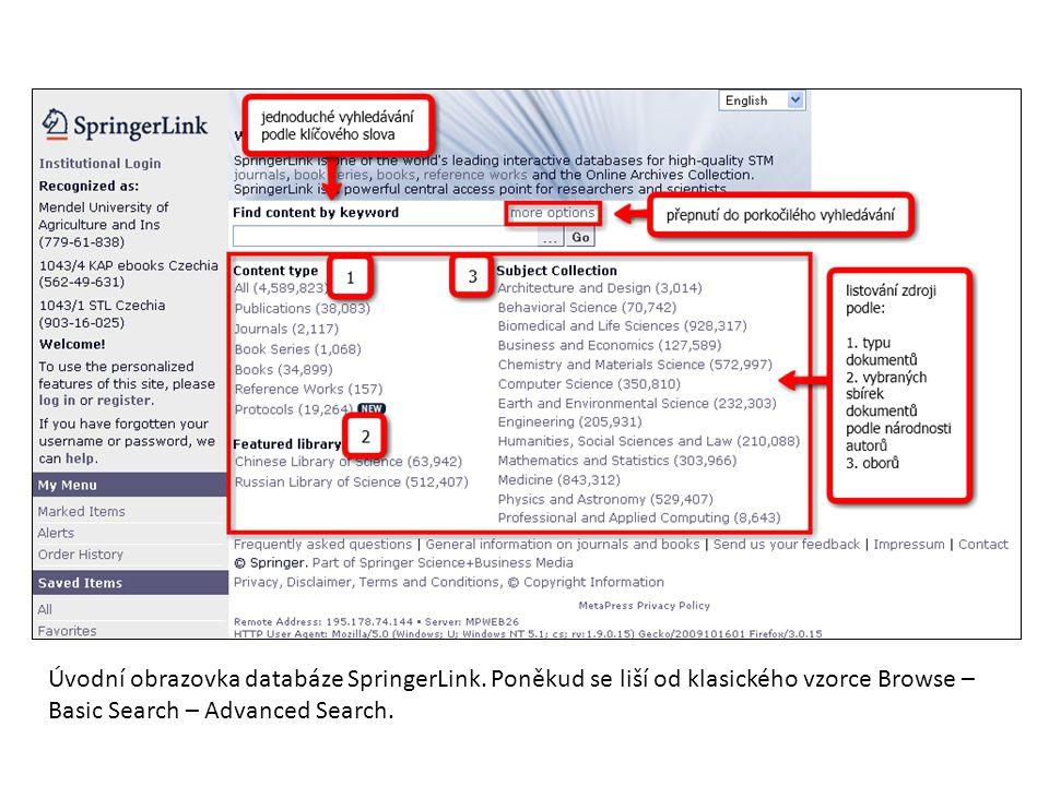 Úvodní obrazovka databáze SpringerLink