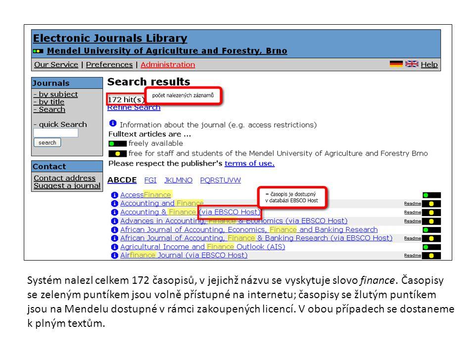 Systém nalezl celkem 172 časopisů, v jejichž názvu se vyskytuje slovo finance.