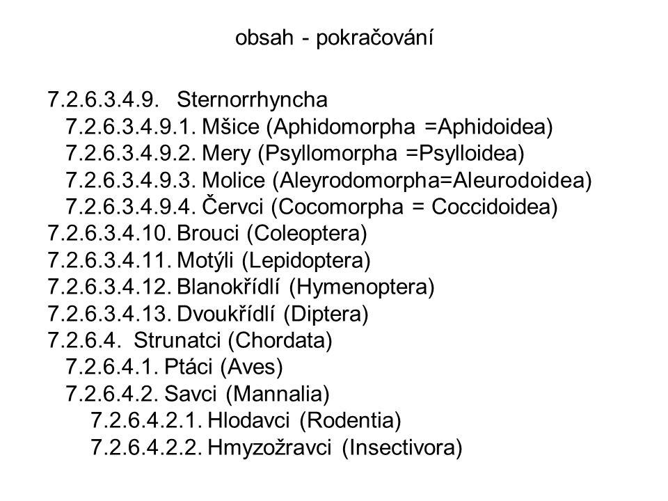 obsah - pokračování 7.2.6.3.4.9. Sternorrhyncha. 7.2.6.3.4.9.1. Mšice (Aphidomorpha =Aphidoidea)