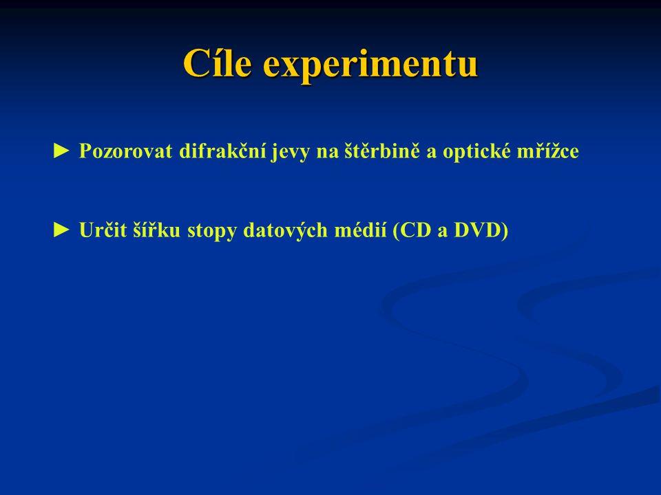Cíle experimentu ► Pozorovat difrakční jevy na štěrbině a optické mřížce.