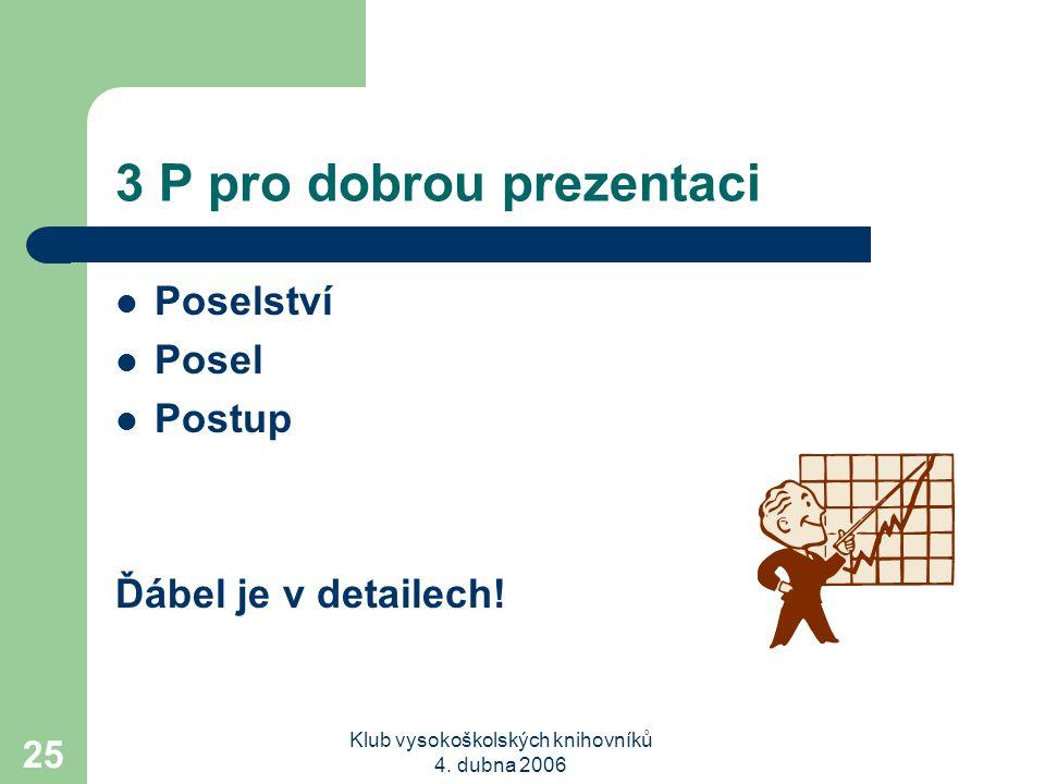 3 P pro dobrou prezentaci