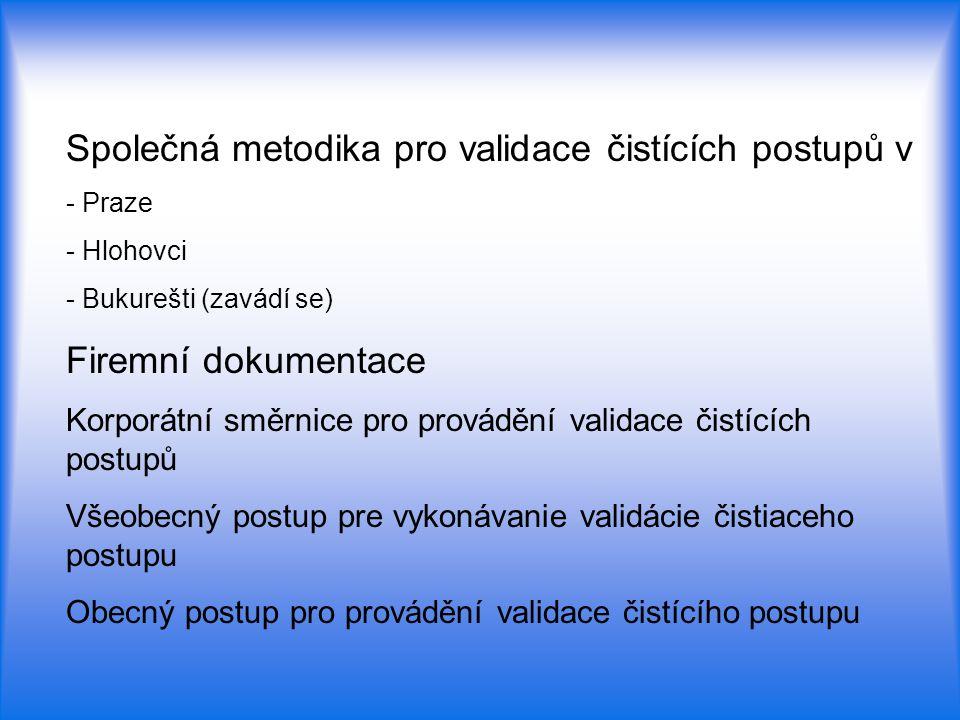 Společná metodika pro validace čistících postupů v