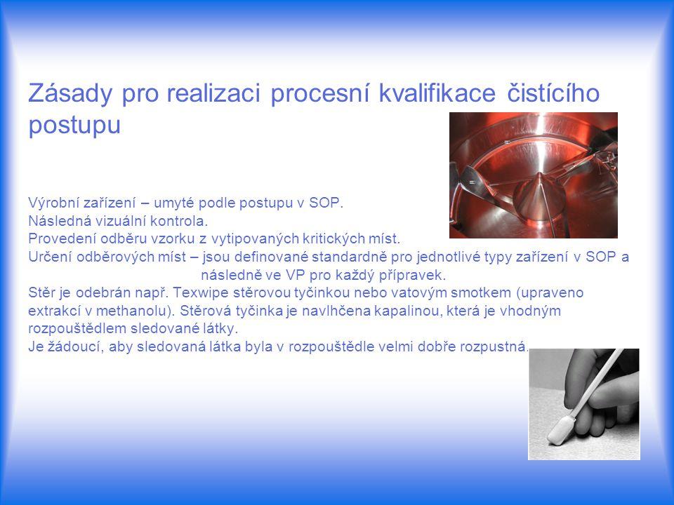 Zásady pro realizaci procesní kvalifikace čistícího postupu Výrobní zařízení – umyté podle postupu v SOP.