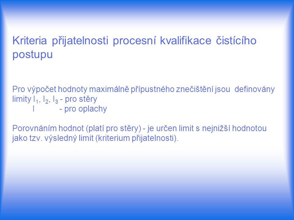 Kriteria přijatelnosti procesní kvalifikace čistícího postupu Pro výpočet hodnoty maximálně přípustného znečištění jsou definovány limity I1, I2, I3 - pro stěry I - pro oplachy Porovnáním hodnot (platí pro stěry) - je určen limit s nejnižší hodnotou jako tzv.