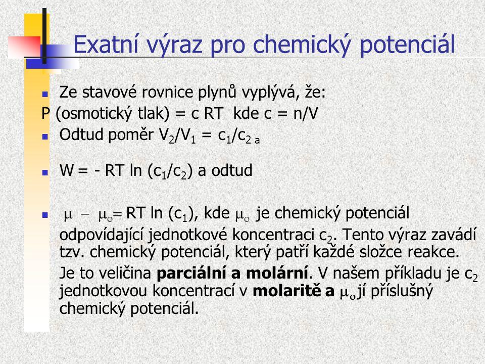 Exatní výraz pro chemický potenciál