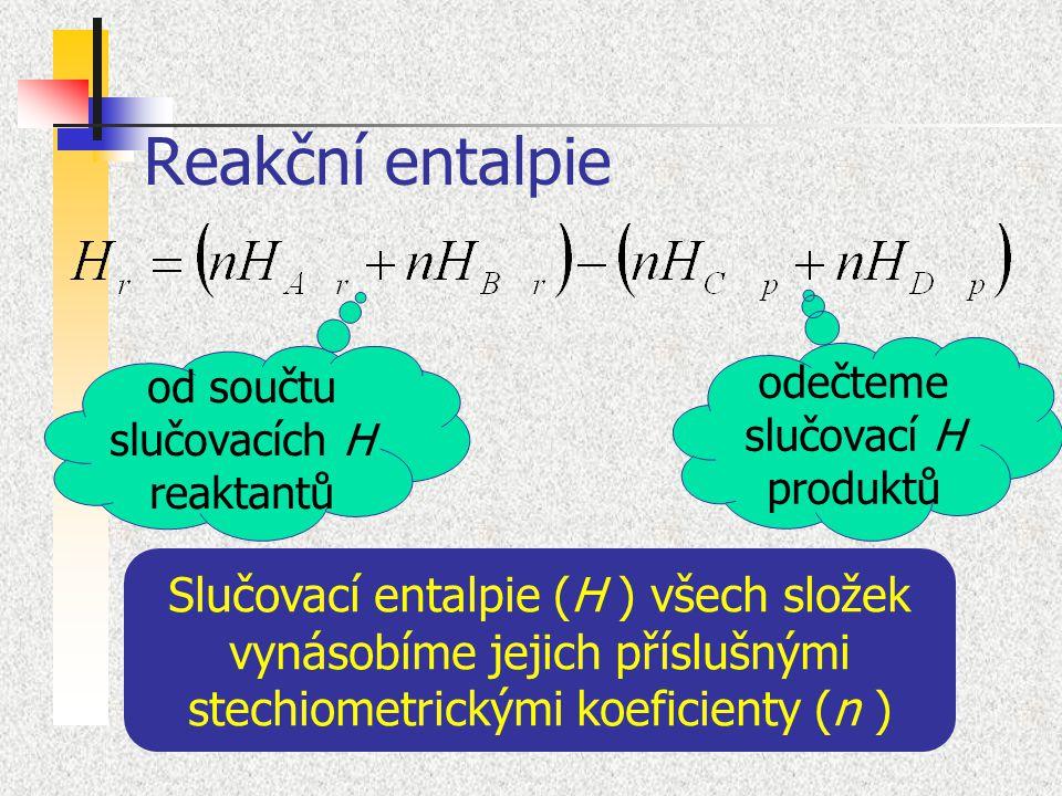 Reakční entalpie odečteme slučovací H produktů. od součtu slučovacích H reaktantů.