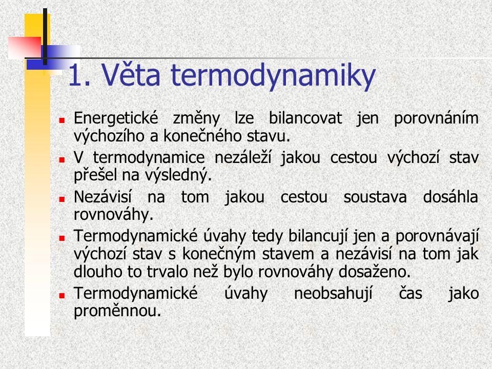 1. Věta termodynamiky Energetické změny lze bilancovat jen porovnáním výchozího a konečného stavu.