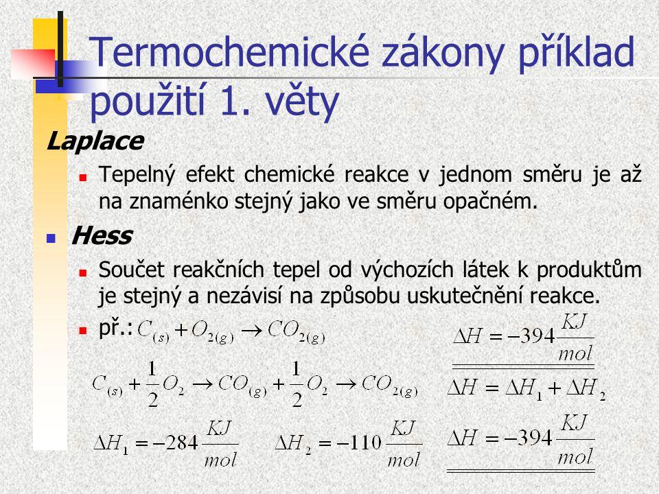 Termochemické zákony příklad použití 1. věty