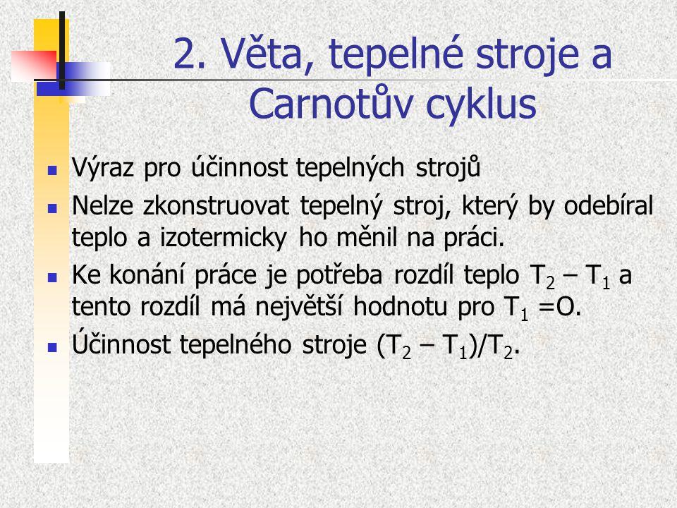 2. Věta, tepelné stroje a Carnotův cyklus